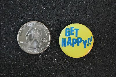 Get Happy !! Humor Funny Yellow Pin Pinback Button #14452