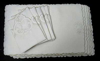 Vintage Madeira Linen Placemat Set of 6 + Shell Pattern Unique Napkin Shape FINE