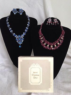 Vintage 1950's Bijoux Christian Dior Diamante Necklace & Earrings, RED