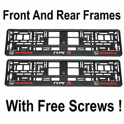 Set of Honda Type R Number Plate Surrounds Holder Frames, Civic, Accord