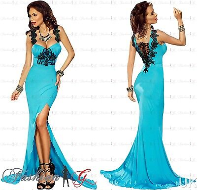 Womens Evening Dress Maxi Blue Ball Gown Prom Party Formal Long.Lace Size 14 16