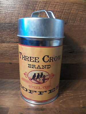 Vintage-Look Tin Food Safe Three Crow Brand Coffee Metal Canister Can