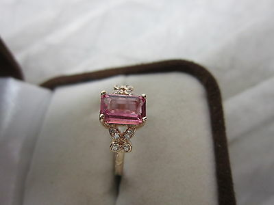 Gorgeous 14 Kt Gold Vivid Pink Tourmaline & Diamond Ring !!!!!!!