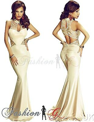 Womens Evening Dress Maxi Ball Gown Prom Party Formal Long Beige Lace Size 12-14