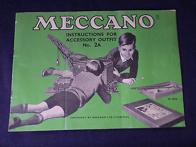 Vintage Meccano Instructions for Accessory Outfit No.2A