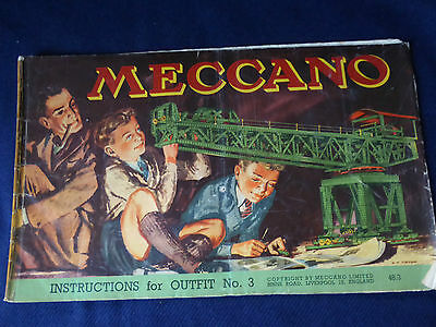 Vintage Meccano Instructions for Outfit No.3