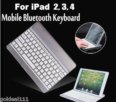 Aluminum Case w/ Bluetooth Keyboard For iPad 2 3 4 and iPad Air 5 White *