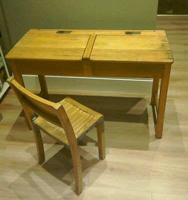 Vintage double school desk and chair