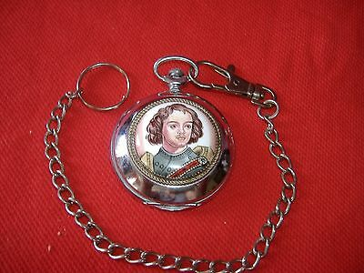 RUSSIAN  wind up  PETER THE GREAT HAND PAINTED POCKET WATCH WITH CHAIN