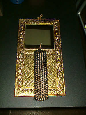 Vintage - Brass  Mirror Wall Hanging Plaque + Clothes Brush