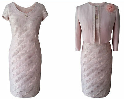 Pale Pink Mother Of The Bride Groom Formal Outfit 2 Piece Jacket Dress Size 14