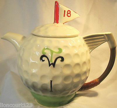 Collectable Novelty Tony Wood Golf Ball 18th hole Teapot in Good Condition