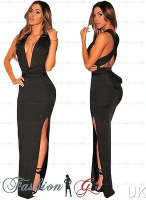 Womens Black Evening Dress Maxi Ball Gown Prom.Party Formal Long Lace Size 12 14