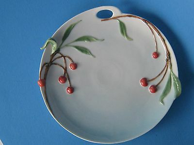 Two's Company Serving Plate/ Snack Plate Porcelain- Red Cherry/ Fruit in Relief