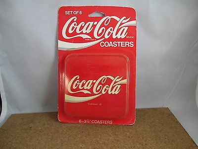 Vintage Coca Cola Red Square Coasters, corked back, Set of 6 Coasters 1994