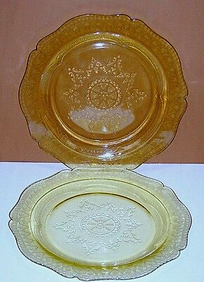 Vintage Federal Glass Depression, Patrician/spoke Yellow Amber Dinner Plate (2)