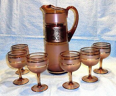 EGERMANN GOLD TRIM CHOCOLATE FROSTED GLASS 7PC.CZECH.COCKTAIL SET c1930s PERFECT