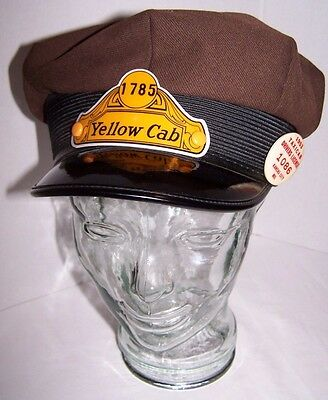 Vintage 1953 Yellow Taxi Cab Driver's Cap W/ Badge & License Kansas City 7 3/8