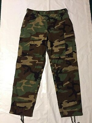 US Military BDU Woodland Camouflage Combat Trousers Size MR