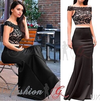 Womens Evening Dress Maxi Ball Gown Prom Party Formal Long Black Lace Size 8 10