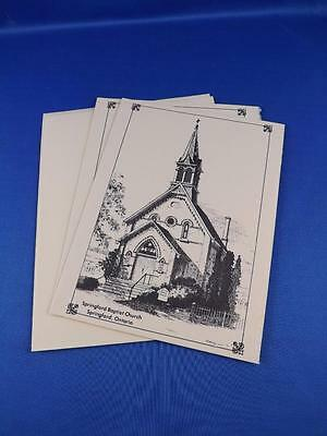 Greeting Card Lot Of 2 Springford Ontario Baptist Church Sketch With Envelopes