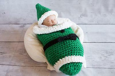 HANDMADE Crochet Newborn Photography prop outfit Christmas ELF ~Gnome~ Hat & Bag