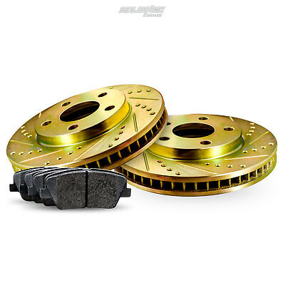 Rear Gold Drilled Slotted Brake Rotors and Ceramic Pads 2004-2005 Dodge Neon