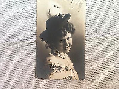 Vintage Postcard - Lady With Hat - European - Post Card - Used - Writing & Stamp