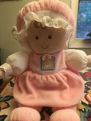 """Animal Alley Toys R Us 13"""" Plush Soft Baby Doll  Pink Lovey Rattle Crinkle"""