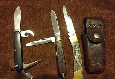 Vintage Pocket Knife Lot of 3 - Imperial Prov. R.I.,Stainles Plus leather sheath