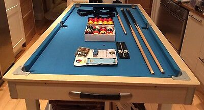 """Riley Pool Table 5' x 2'6"""" With Snooker Balls & Triangle Virtually Unused"""