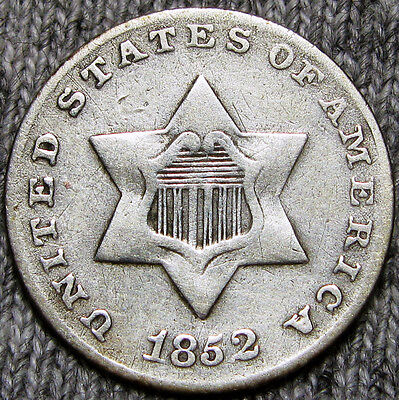 1852 Silver Three Cent Piece 3cp -- NICE TYPE COIN -- #O166