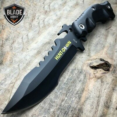 "10"" Hunting BLACK Tactical Combat Survival FIXED BLADE Camping Knife Bowie Rambo"