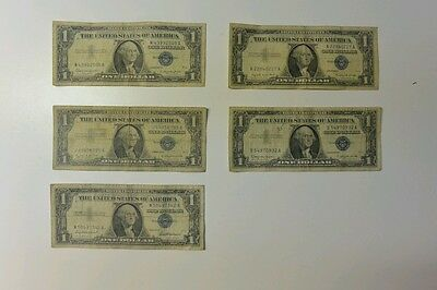 Lot of 5 Circulated $1 Silver Cerificate 1957