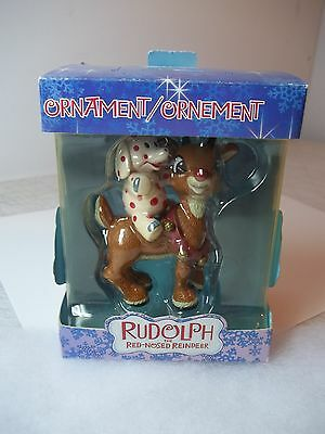 """American Greeting Rudolph Red Nosed Reindeer Spotted Elephant 3"""" Ornament Nib"""