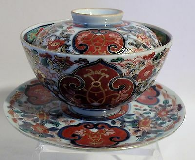 Tsf10 Imari Porcelain Chenghua Mark Rice Bowl, Underplate And Cover, Asian