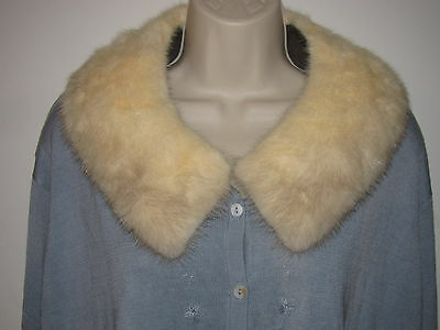 Vintage Faux/fake Fur Collar-Off White-Beige-Rabbit? Off Old Coat-Craft-Sewing-