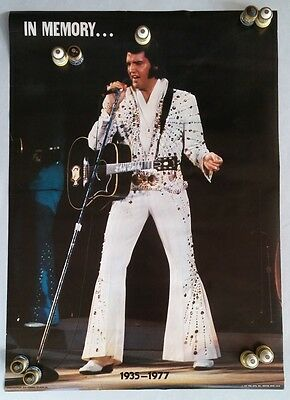 "Original 1977 ELVIS PRESELY ""In Memory"" 1935-1977 POSTER In Original Plastic"