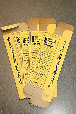 Vintage Titusville PA Thompson Medical Co Russells Rheumatic Relief Liniment Box