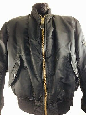Vintage Bomber Jacket Black Active Wear Flight Military Security 90s L