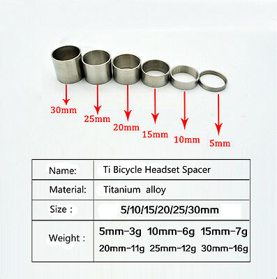 "Titanium/Ti Spacer 1-1/8""(5-10-15-20-25-30mm) for Headset&Stem front fork"