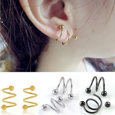 Stainless Steel S Spiral Helix Ear Stud Lip Nose Ring Cartilage Nice Jewelry