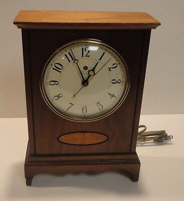 Vintage Telechron Wood With Inlay Electric Mantle Clock Model 4H173 Works