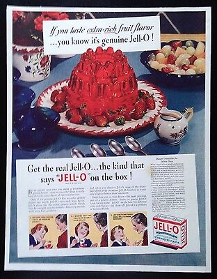 1936 Jell-O gelatin dessert red jello mold with fruit original vintage print ad