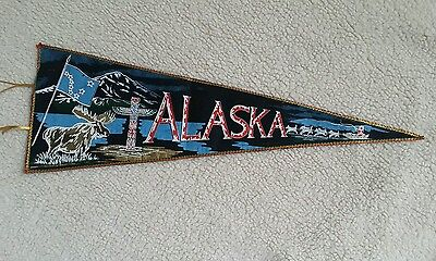 Vintage Alaska Pennant with Moose, Totem and Sled Dog