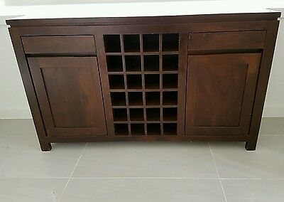 Solid timber cabinet side buffet table with wine storage