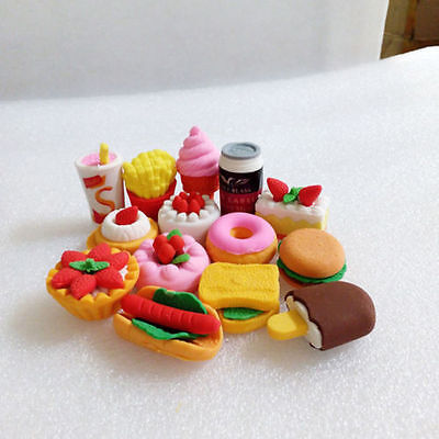 Funny Cute Food Rubber Pencil Eraser Set Stationery Novelty Children Part Gift