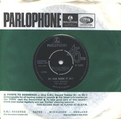 "Beatles We Can Work It Out - 2nd UK 7"" vinyl single record R5389 PARLOPHONE"