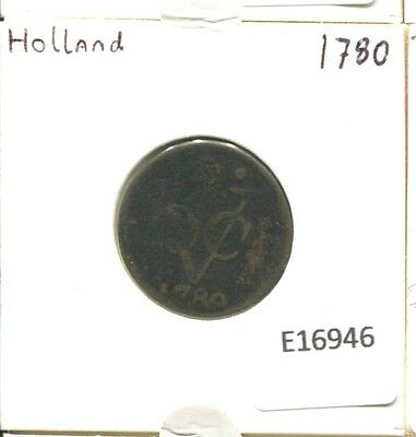 1780 Holland Voc Duit Netherlands Indies New York Colonial Penny E16946.7