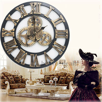 Vintage Wall Clock Rustic Wooden Handmade Luxury Art Big Gear Home Decor - 45cm